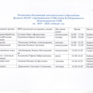 Расписание объединений дополнительного образования